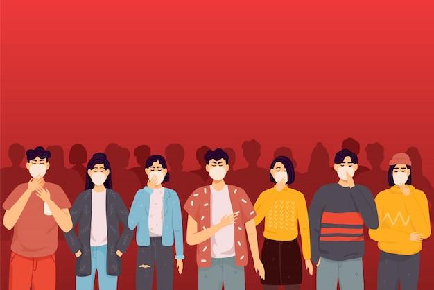 Misture pessoas de raça multidão em máscaras protetoras