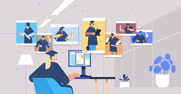 Misture raça alunos formados em janelas de navegador da web graduados felizes celebrando diploma acadêmico diploma educação certificado universitário