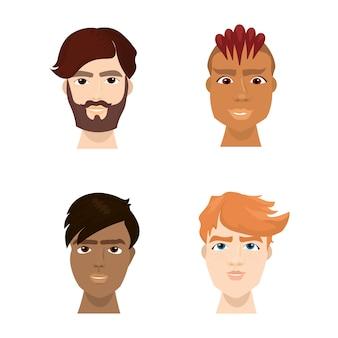 Misture raça hipster masculino enfrenta conjunto com barbas na moda e cortes de cabelo isolado coleção