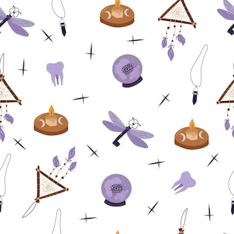 Mistyc padrão sem emenda com elementos de design de bruxaria: bola de cristal, vela, chave, dreamcatcher.vector ilustração desenhada à mão.