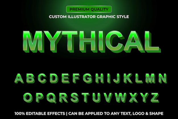 Mítico - efeito de texto instantâneo verde metálico