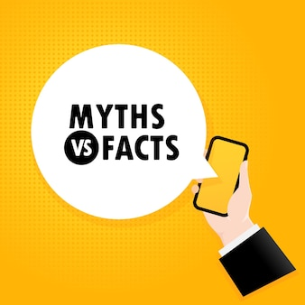 Mitos ou fatos. smartphone com um texto de bolha. cartaz com texto mitos ou fatos. estilo retrô em quadrinhos. bolha do discurso do app do telefone. vetor eps 10. isolado no fundo.