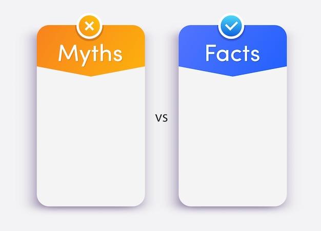 Mitos vs fatos vetor cartão estilo moderno isolado no fundo branco verificação de fatos ou comparação fácil