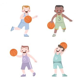 Miúdos bonitos esporte basquete ilustração conjunto