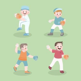 Miúdos bonitos esporte conjunto de ilustração de beisebol