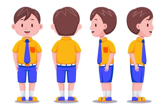 Miúdos bonitos menino estudante personagem em diferentes poses.