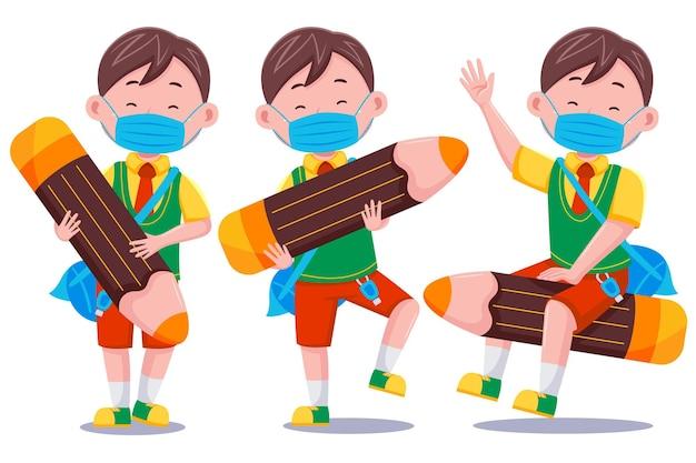 Miúdos bonitos menino estudante personagem usando máscara com lápis.
