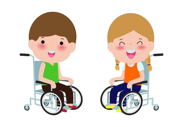 Miúdos deficientes bonitos que sentam-se em uma cadeira de rodas, pessoa deficiente. desenho animado colorido estilo simples