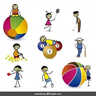 Miúdos dos desenhos animados feliz com diferentes esferas