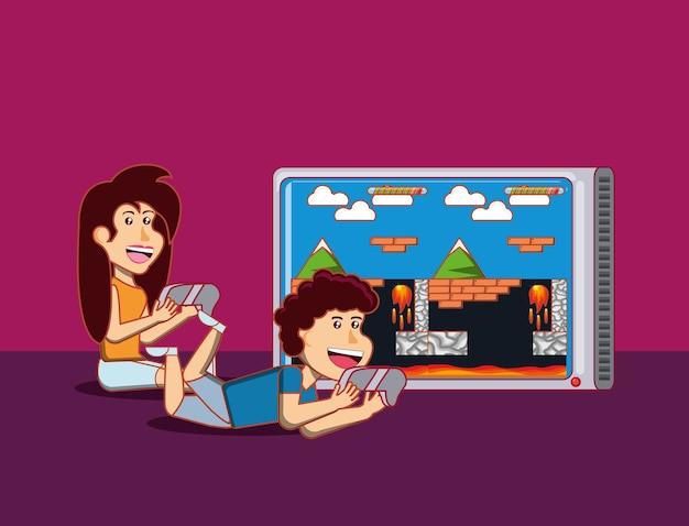 Miúdos felizes dos desenhos animados que jogam jogos video da aventura sobre o fundo roxo