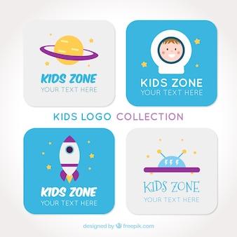 Miúdos logos fantásticos com detalhes roxos e azuis