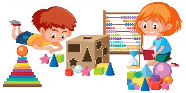 Miúdos que jogam com brinquedo de matemática