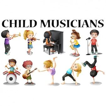 Miúdos que jogam instrumentos musicais
