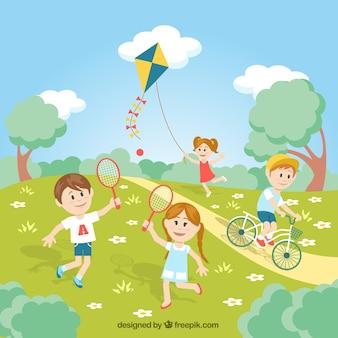 Miúdos que jogam no parque