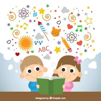 Miúdos que lêem um livro imaginativo
