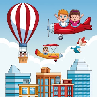 Miúdos que voam sobre os desenhos animados da cidade