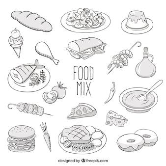 Mix de alimentos esboçado