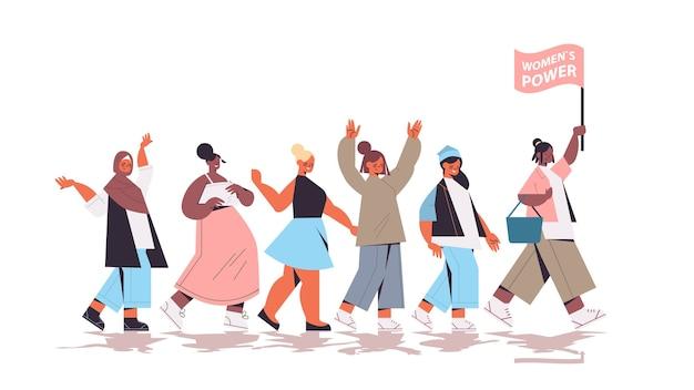Mix race meninas ativistas unem-se movimento de empoderamento feminino feminino comunidade união de feministas conceito ilustração vetorial de corpo inteiro horizontal