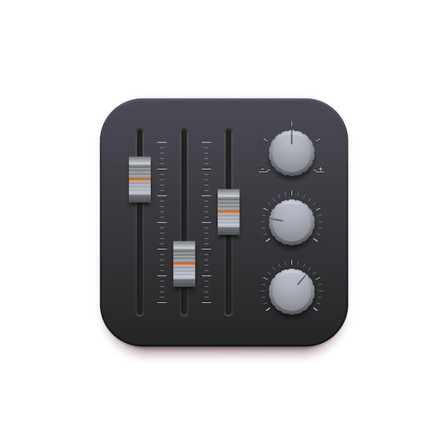 Mixer de som, ícone de interface do aplicativo de gravação de música