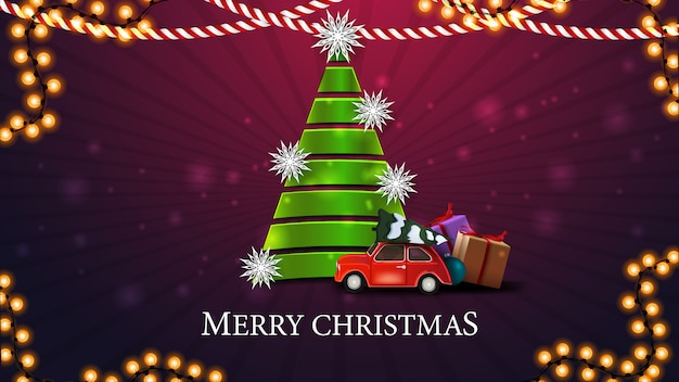 Mmerry christmas, cartão postal roxo com árvore de natal feita de fita verde com carro antigo vermelho carregando árvore de natal