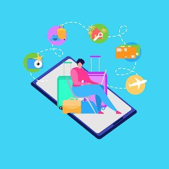 Mobile app para viajar pessoas vector concept