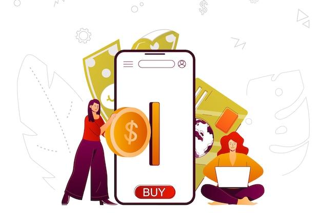 Mobile banking conceito da web, transação de dinheiro e contabilidade no aplicativo para smartphone