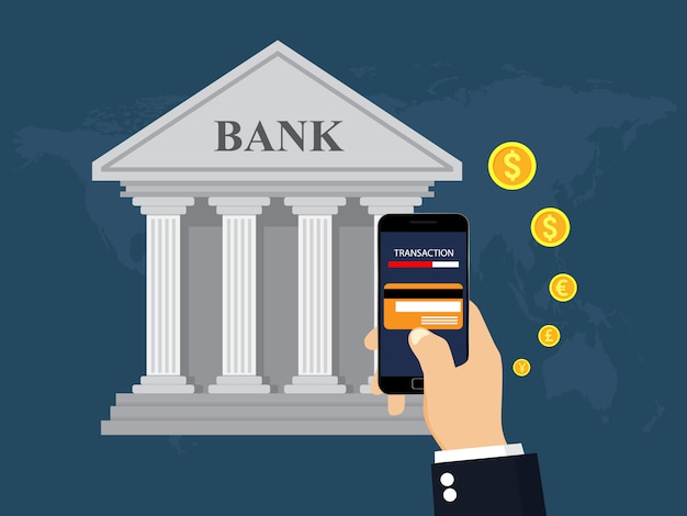 Mobile banking e pagamento móvel.