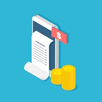 Mobile banking e pagamento. smartphone com recibo e moedas no elegante estilo isométrico.