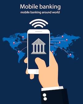 Mobile banking em todo o mundo, design plano, ilustração.