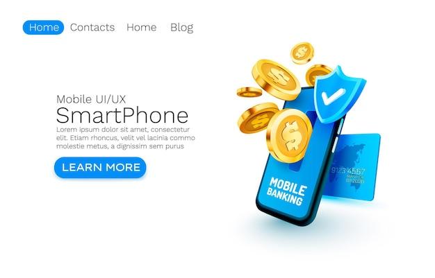 Mobile banking serviço de pagamento financeiro smartphone tecnologia de tela móvel luz de exibição móvel
