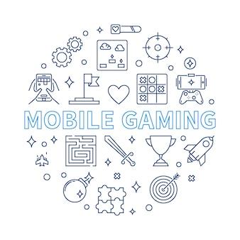 Mobile gaming rodada ilustração no estilo de estrutura de tópicos