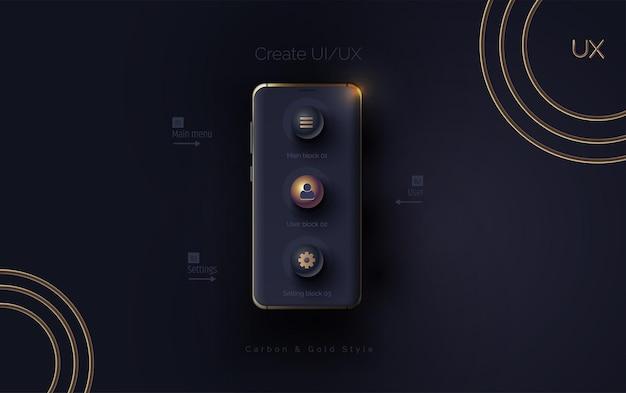Mobile ui ux korbon e conceito de ouro