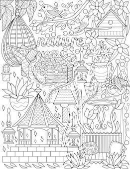 Mobília ao ar livre gazebo cadeira suspensa doodle incolor desenho de linha natureza rabiscando pássaros