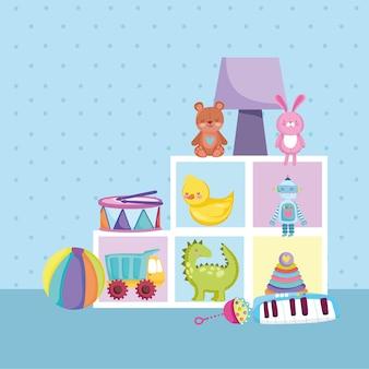 Mobília de brinquedos infantis urso coelho