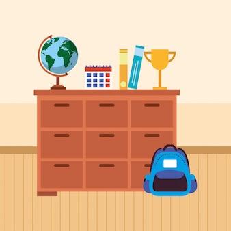 Mobília de mesa escolar com material escolar
