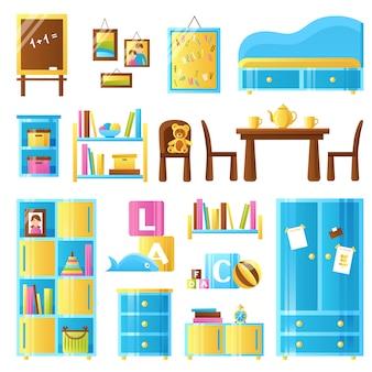 Mobília do quarto do bebê colorido conjunto