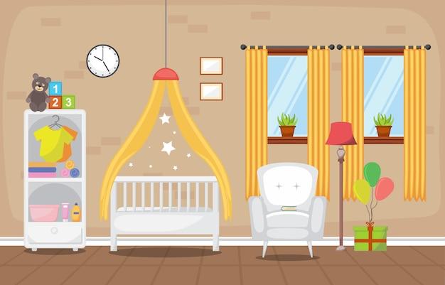 Mobília interior da sala do quarto das crianças da criança do bebê