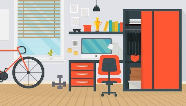 Mobília interior do quarto moderno adolescente. área de trabalho confortável