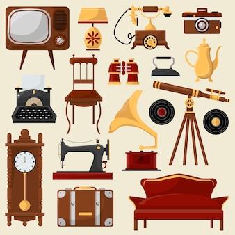 Mobiliário de casa vintage e acessórios.