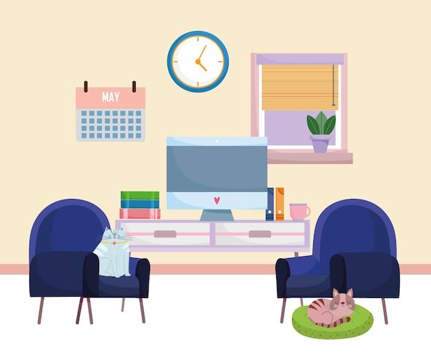 Mobiliário de computador interior de escritório em casa livros calendário, relógio, cadeiras e gatos descansando em uma almofada.