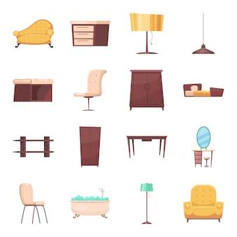 Mobiliário de conjunto de ícones de desenho animado interior