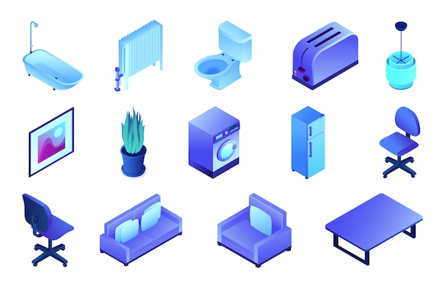 Mobiliário de escritório e conjunto de ilustração 3d isométrica de banheiro.