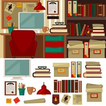 Mobiliário de escritório em casa biblioteca interiores e objetos Vetor Premium