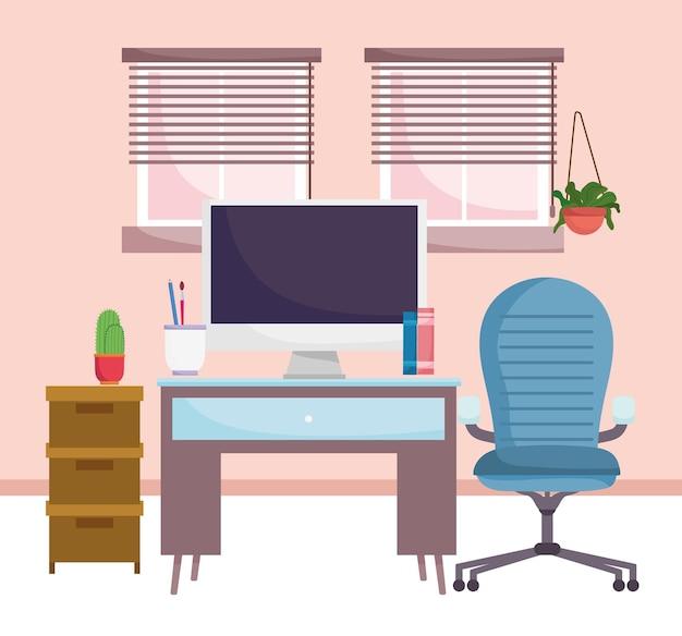 Mobiliário de interior de escritório doméstico, cadeira de computador, gabinete, ilustração de plantas e janelas