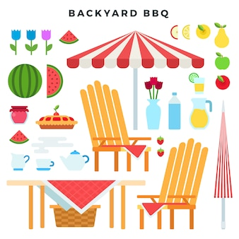 Mobiliário de piquenique e comida, conjunto de elementos de estilo plano colorido. atributos de festa de churrasco de quintal. ilustração vetorial