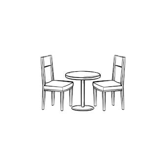 Mobiliário de restaurante desenhado à mão contorno doodle ícone. vista lateral da mobília do restaurante - mesa e cadeiras vector a ilustração do esboço para impressão, mobile e infográficos isolados no fundo branco.