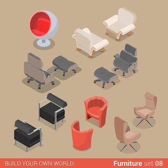 Mobiliário de sala de estar em casa conjunto cadeira poltrona espreguiçadeira elemento plano coleção de objetos de interiores criativos.