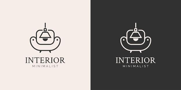 Mobiliário e conceito de logotipo de design de interiores