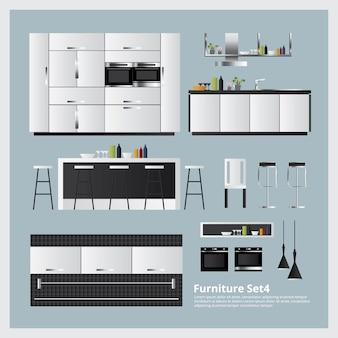 Mobiliário e decoração de casa conjunto ilustração vetorial