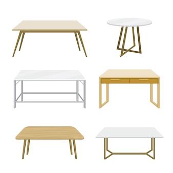 Mobiliário mesa de madeira isolado ilustração vetorial